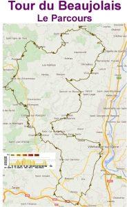 Avec ses 195 km à parcourir, 18 cols à franchir pour un dénivelé positif de 3200 m, le Tour du Beaujolais est une randon-née exigeante mais combien agréable. Elle est labellisée par la FFCT sous le numéro 98.  Elle vous fera découvrir le Pays Beau-jolais sous toutes ses formes.  En partant de Villefranche, vous traver-serez les villages typiques du Pays des Pierres Dorés pour rejoindre Oingt, site BPF.  Vous aborderez ensuite la montagne beaujolaise à travers les forêts de douglas pour atteindre le massif du Mont Saint-Rigaud qui domine, avec ses 1012 m, le département du Rhône.  En quittant la forêt, la route vous conduira à travers les prés d'élevage jusqu'au circuit des grands crus. Vous traverserez Juliénas, Fleurie, Morgon, Régnié où vous pourrez faire une petite halte dans un des nombreux caveaux de dégustation.